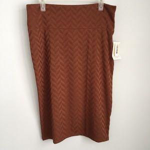 NWT LuLaRoe Brown Chevron Cassie Skirt